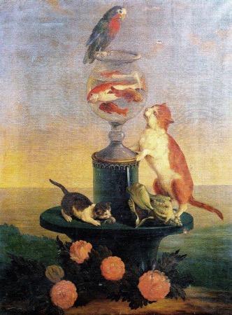 2. Amanzia Guerillot Inganni, Gatti che giocano con un vaso di pesci rossi.jpg