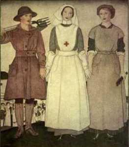 Figura 1 disegno raffigurante la condizione della donna nella prima guerra mondiale