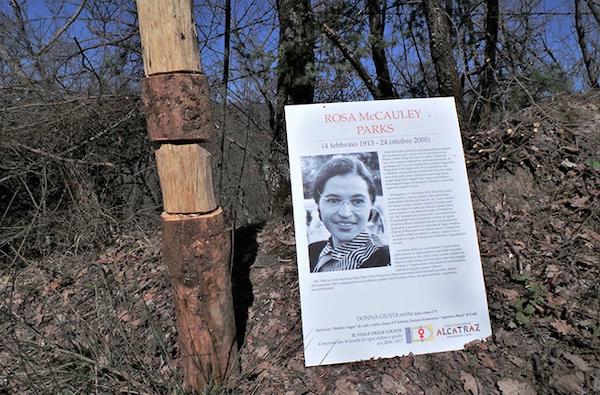Foto 2. Il pannello della mostra dedicato a Rosa Parks