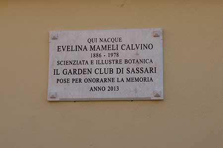 Targa commemorativa sulla casa di Eva Mameli, in via Turritana 76, Sassari