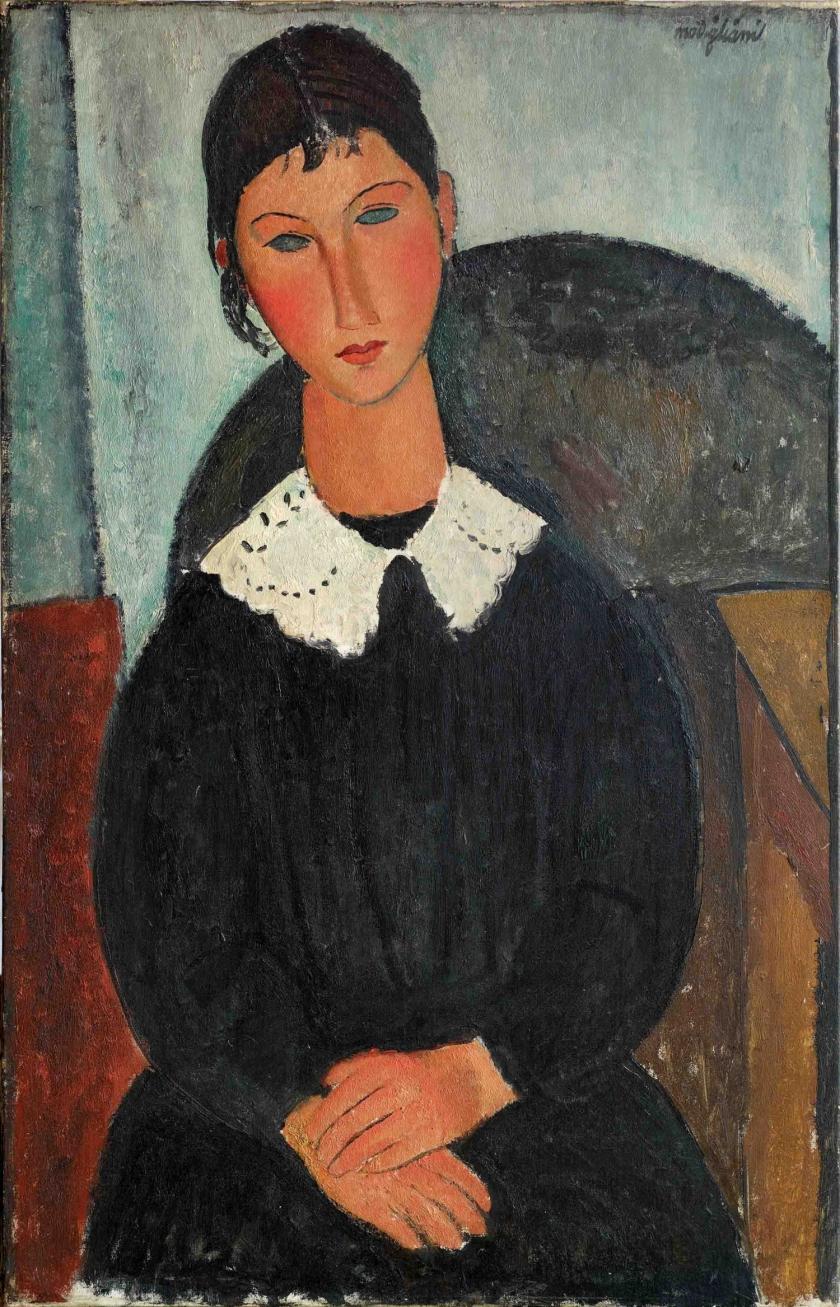 Amedeo-Modigliani-Elvire-au-col-blanc-Elvire-à-la-collerette-1917-o-1918-collezione-Jonas-Netter