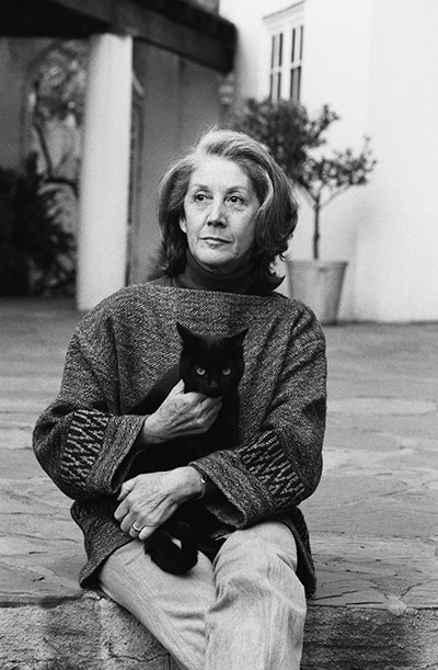 South African Writer Nadine Gordimer Holding Cat