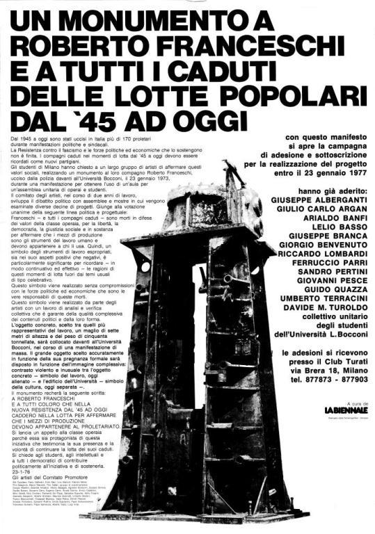 FOTO 4. La presentazione del monumento alla Biennale 76. Manifesto di Enzo Mari