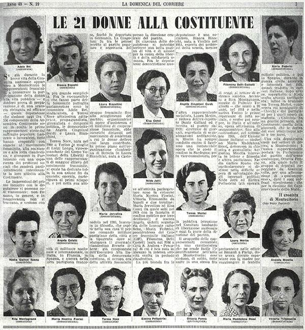 Le 21 donne alla Costituente. «La Domenica del Corriere», 4 agosto 1946