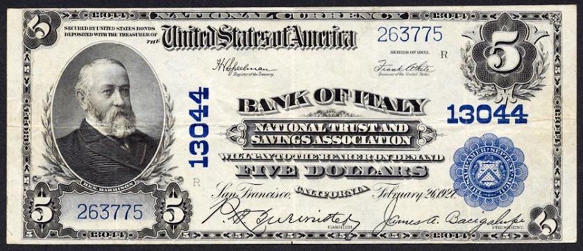 Nat'l Bank Note from Bank of Italy NT&SA, USA