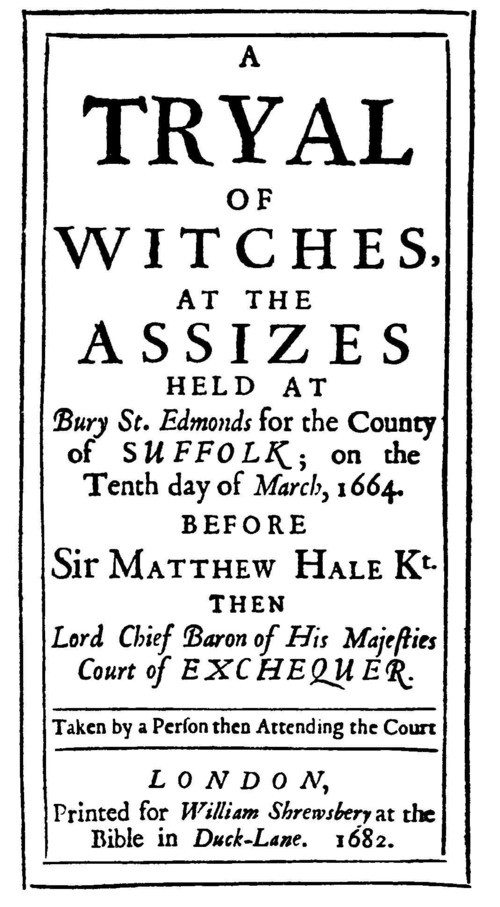 FOTO 1. Bury St. Edmunds. Witch Trial report. Frontespizio del rapporto