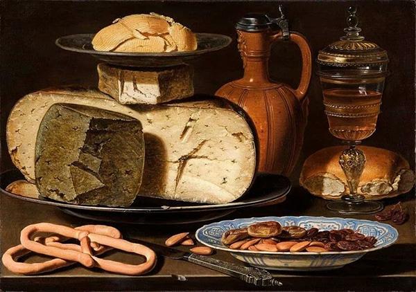 Clara Peeters. Natura morta con formaggi, mandorle e pretzel,