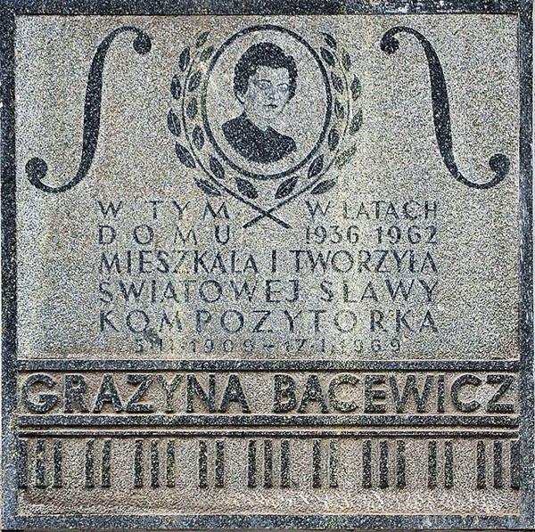 Varsavia. Pplacca in memoria di Grażyna Bacewicz in via Koszykowa 35 a Varsavia