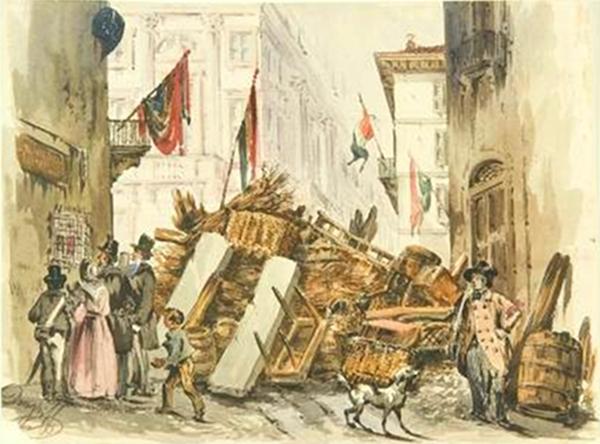 Foto4 Acquerello di Felice Donghi del 1848 che mostra una delle barricate erette a Milano durante le Cinque giornate