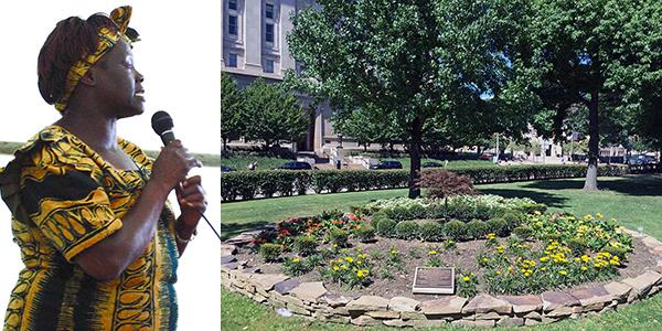 Foto2. Wangari Maathai durante una conferenza sulla deforestazione. A destra, l'albero e il giardino posti in sua memoria dall'Università di Pittsburg