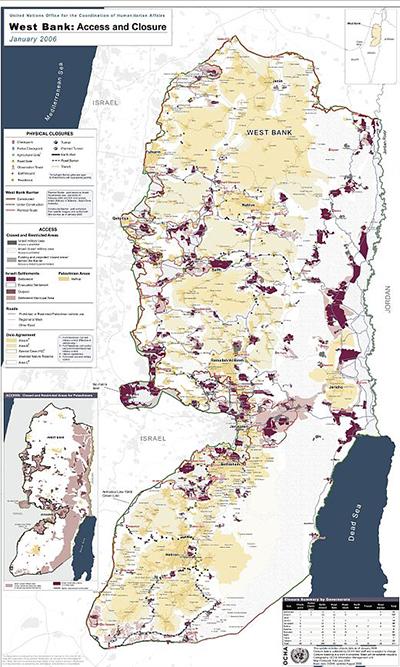 Mappa degli insediamenti israeliani in Cisgiordania